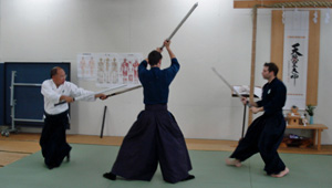 Unsui Sensei warding off two attackers with Nito-jutsu